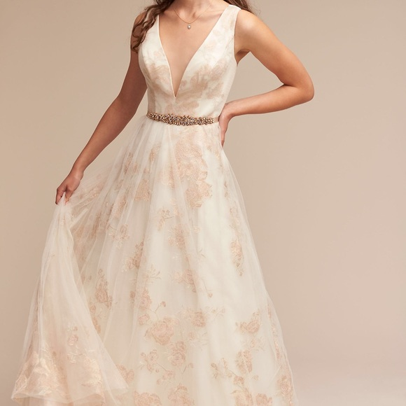 bhldn Dresses | Ivy Aster Lily Floral Bridal Dress Gown | Poshmark